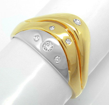 Foto 1, Neu! Brillant Bicolor Ring 14K/585 !1A Top Design! Shop, S8194