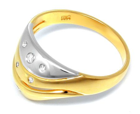 Foto 2, Neu! Brillant Bicolor Ring 14K/585 !1A Top Design! Shop, S8194