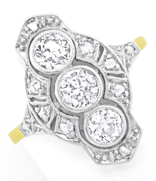 Foto 2, Echt antiker Art Deco Diamant-Ring Platin / Gold Luxus!, S8389