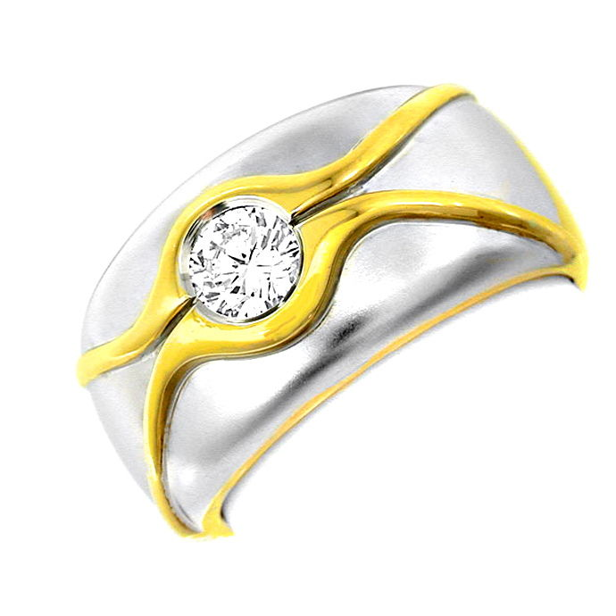 Topmoderner Brillant Solitärring 18K Bicolor Luxus! Neu, Designer Ring