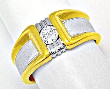 Foto 1, Neu! Brillant-Solitär-Ring 18K Bicolor Luxus! Portofrei, S8394