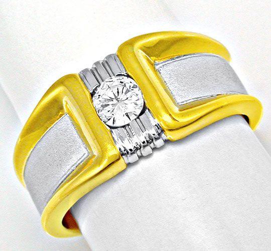 Foto 2, Neu! Brillant-Solitär-Ring 18K Bicolor Luxus! Portofrei, S8394
