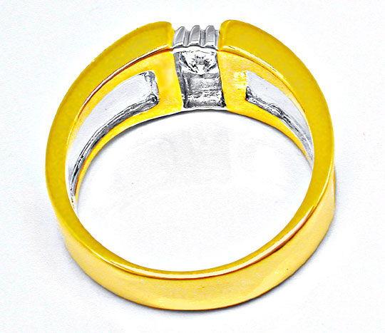 Foto 3, Neu! Brillant-Solitär-Ring 18K Bicolor Luxus! Portofrei, S8394