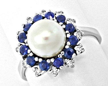Foto 1, Diamant-Zuchtperl-Safir-Ring Weissg.Luxus Neu Portofrei, S8397