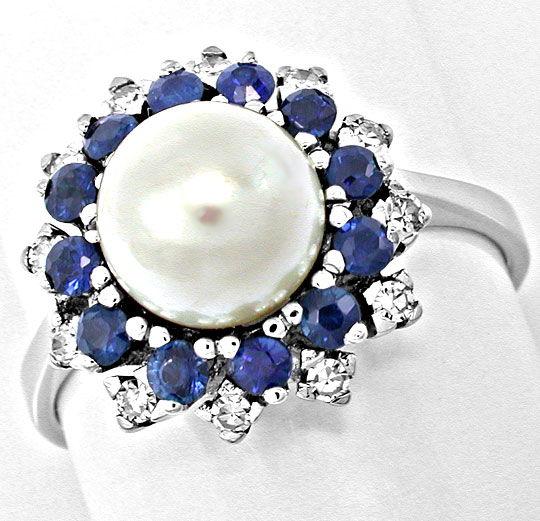 Foto 2, Diamant-Zuchtperl-Safir-Ring Weissg.Luxus Neu Portofrei, S8397