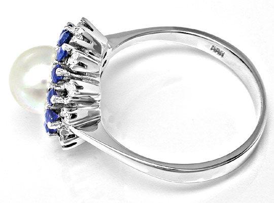 Foto 3, Diamant-Zuchtperl-Safir-Ring Weissg.Luxus Neu Portofrei, S8397
