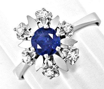 Foto 1, Klassischer Diamant-Safirring Weissg.Shop Neu Portofrei, S8398