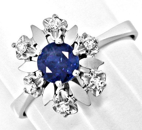 Foto 2, Klassischer Diamant-Safirring Weissg.Shop Neu Portofrei, S8398