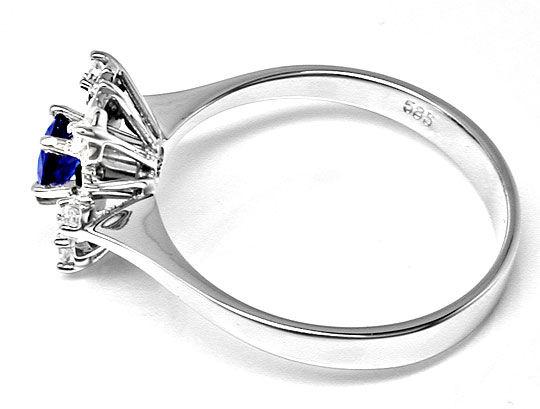 Foto 3, Klassischer Diamant-Safirring Weissg.Shop Neu Portofrei, S8398