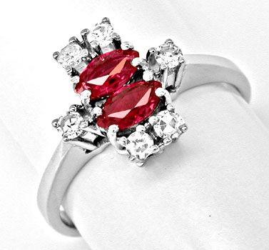 Foto 1, Klassischer Diamant-Rubinring Weissg.Shop Neu Portofrei, S8399