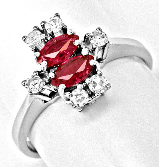 Foto 2, Klassischer Diamant-Rubinring Weissg.Shop Neu Portofrei, S8399
