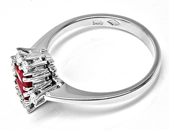 Foto 3, Klassischer Diamant-Rubinring Weissg.Shop Neu Portofrei, S8399