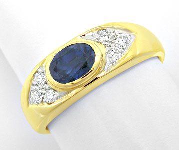 Foto 1, Brillant-Safir-Bandring Gelbgold 14K Shop Top-Erhaltung, S8401