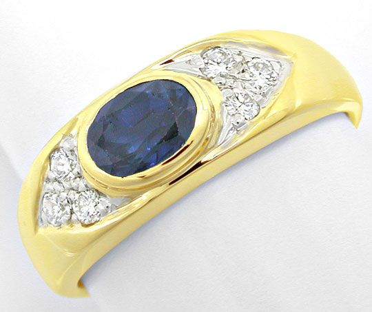 Foto 2, Brillant-Safir-Bandring Gelbgold 14K Shop Top-Erhaltung, S8401