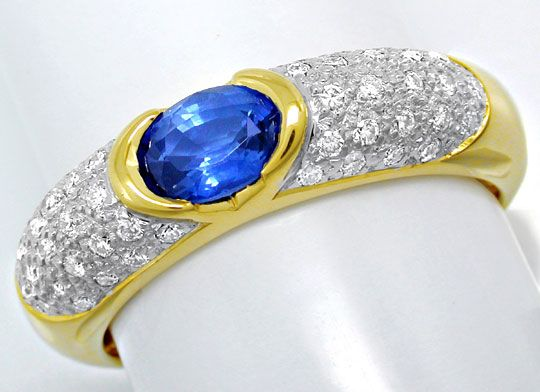 Foto 2, Brillant-Ring River! Lupenrein! Traum-Safir! Luxus! Neu, S8402