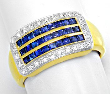 Foto 1, Neu! Traumhafter Topsafir-Brillant-Ring Luxus Portofrei, S8406