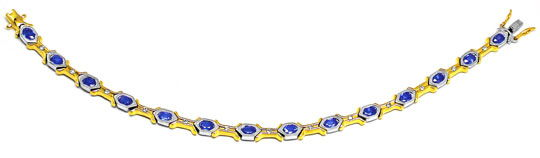Foto 2, Neu! Brillant-Safir-Armband 18K Bicolor Luxus Portofrei, S8410