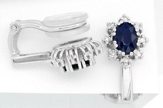 Foto 1, Neu! Klassische Diamant-Safir-Ohrclips Luxus! Portofrei, S8419