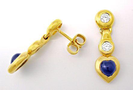 Foto 1, Safir-Brillant-Ohrgehänge, 18K/750 Gelbgold Luxus! Neu!, S8421