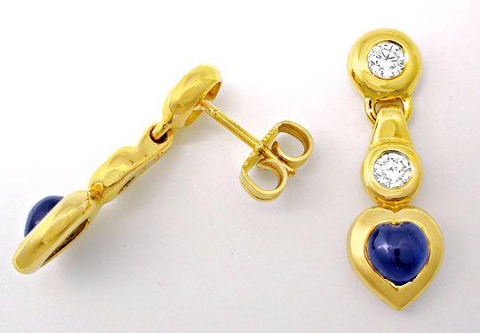 Foto 2, Safir-Brillant-Ohrgehänge, 18K/750 Gelbgold Luxus! Neu!, S8421