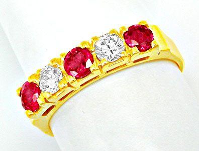 Foto 1, Neu! Brillant-Ring, Tolle Spitzenrubine Gelbgold Luxus!, S8430