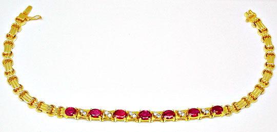 Foto 1, Brillantarmband mit Spitzen-Rubinen Luxus Neu Portofrei, S8431