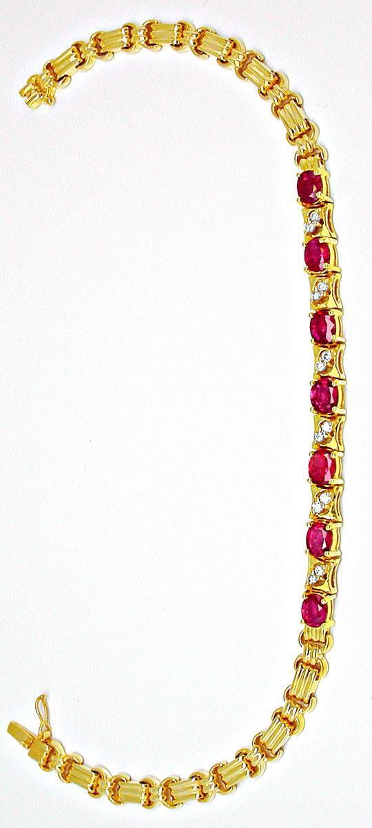 Foto 2, Brillantarmband mit Spitzen-Rubinen Luxus Neu Portofrei, S8431