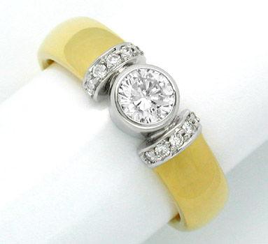 Foto 1, Neu! Designer-Brillant-Ring 18K Bicolor Luxus Portofrei, S8442