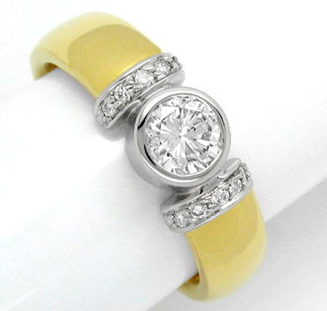 Foto 1, Neu! Designer-Brillant-Ring 18K Bicolor massiv!! Luxus!, S8443