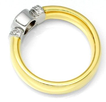 Foto 2, Neu! Designer-Brillant-Ring 18K Bicolor massiv!! Luxus!, S8443