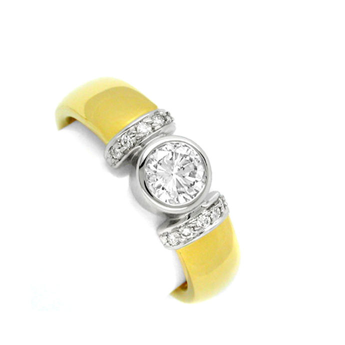 Neu! Designer Brillant Ring 18K Bicolor massiv!! Luxus!, Designer Ring
