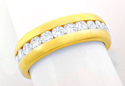Foto 1, Brillant Vollmemory Ring 18K Gelbgold Massiv Luxus! Neu, S8447