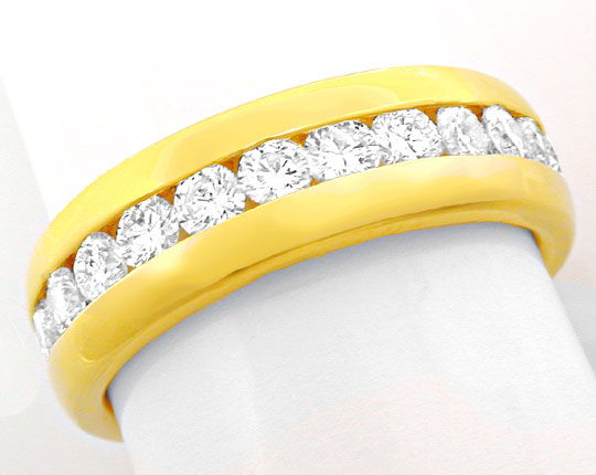 Foto 2, Brillant Vollmemory Ring 18K Gelbgold Massiv Luxus! Neu, S8447