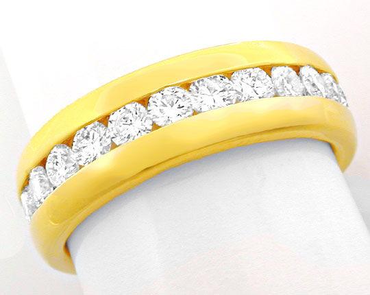 Foto 2, Brillant-Vollmemory-Ring 18K-Gelbgold-Massiv Luxus! Neu, S8447