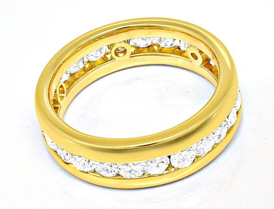 Foto 3, Brillant Vollmemory Ring 18K Gelbgold Massiv Luxus! Neu, S8447