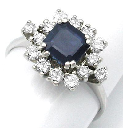 Foto 1, Neu! Wunderschöner Brillant-Ring Top-Safir! 18K! Luxus!, S8454