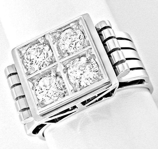 Foto 2, Brillant-Ring Traum-Handarbeit 18K Weissgold Luxus! Neu, S8460