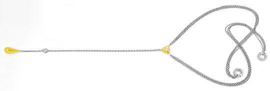 Foto 1, Trillant, Trillion, Diamant-Platin-Gold-Kollier Schmuck, S8461