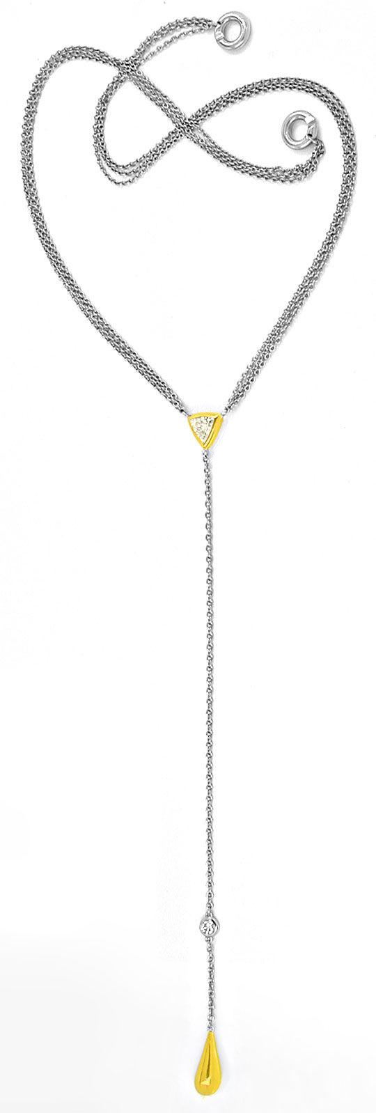 Foto 2, Trillant, Trillion, Diamant-Platin-Gold-Kollier Schmuck, S8461