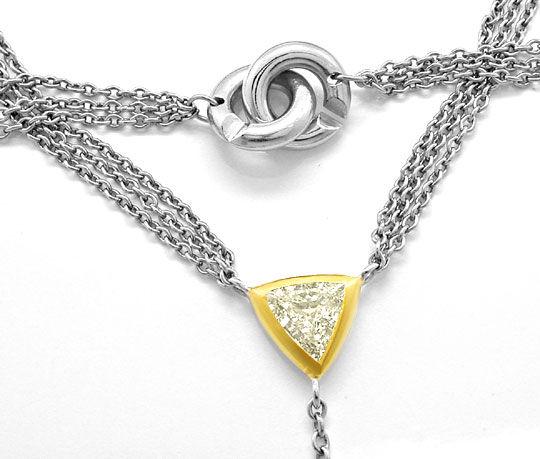 Foto 3, Trillant, Trillion, Diamant-Platin-Gold-Kollier Schmuck, S8461