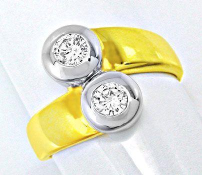 Foto 1, Neu! Brillant-Ring, 2 Solitäre, Bicolor Luxus Portofrei, S8471