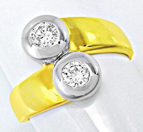 Foto 2, Neu! Brillant-Ring, 2 Solitäre, Bicolor Luxus Portofrei, S8471