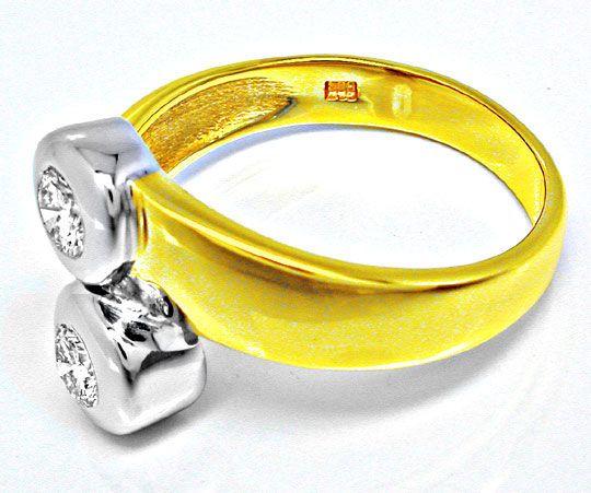 Foto 3, Neu! Brillant-Ring, 2 Solitäre, Bicolor Luxus Portofrei, S8471