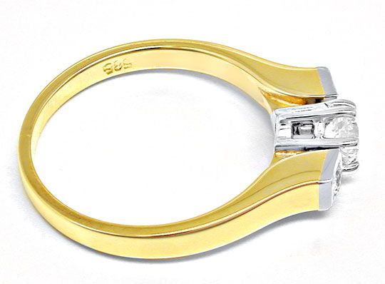 Foto 3, Top-Moderner massiver Brillant-Ring Bicolor Luxus! Neu!, S8474