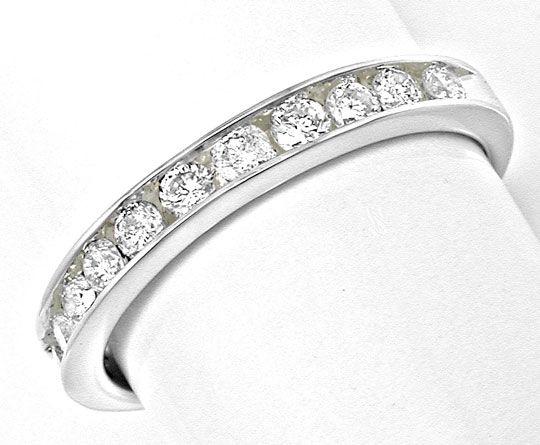 Foto 2, Neu! Platin!! Brillant-Halbmemory-Ring Luxus! Portofrei, S8477