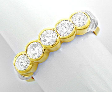 Foto 1, Halbmemory Brillant Ring massiv Bicolor 0,85 Luxus! Neu, S8478