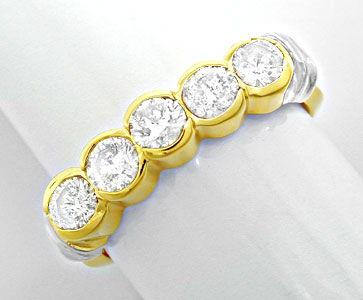 Foto 1, Halbmemory-Brillant-Ring massiv Bicolor 0,85 Luxus! Neu, S8478