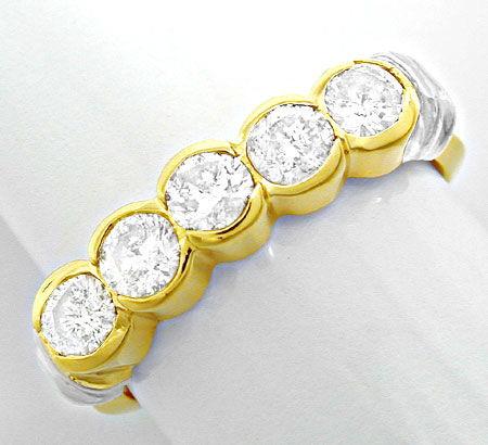 Foto 2, Halbmemory-Brillant-Ring massiv Bicolor 0,85 Luxus! Neu, S8478