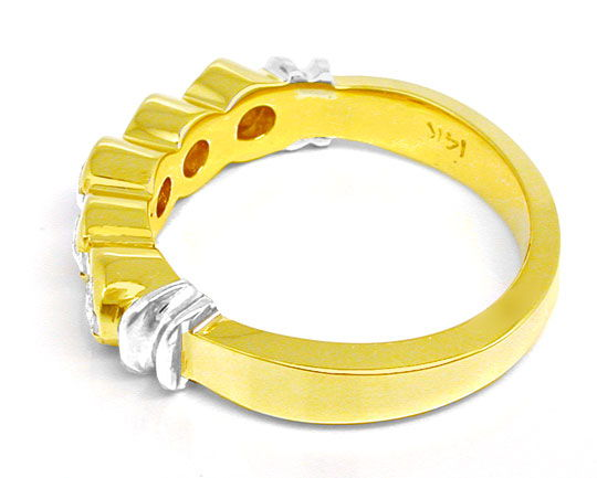 Foto 3, Halbmemory-Brillant-Ring massiv Bicolor 0,85 Luxus! Neu, S8478