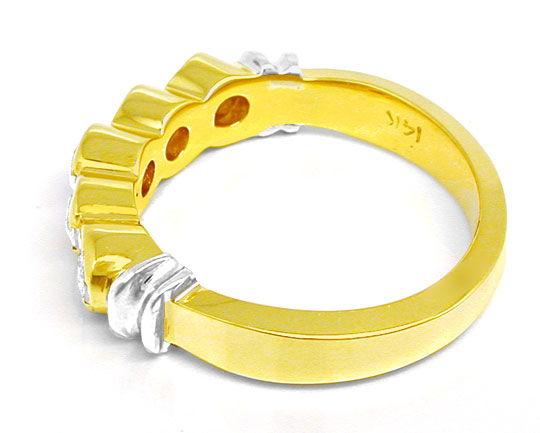 Foto 3, Halbmemory-Brillant-Ring massiv Bicolor 0,85 Luxus! Neu, S8478